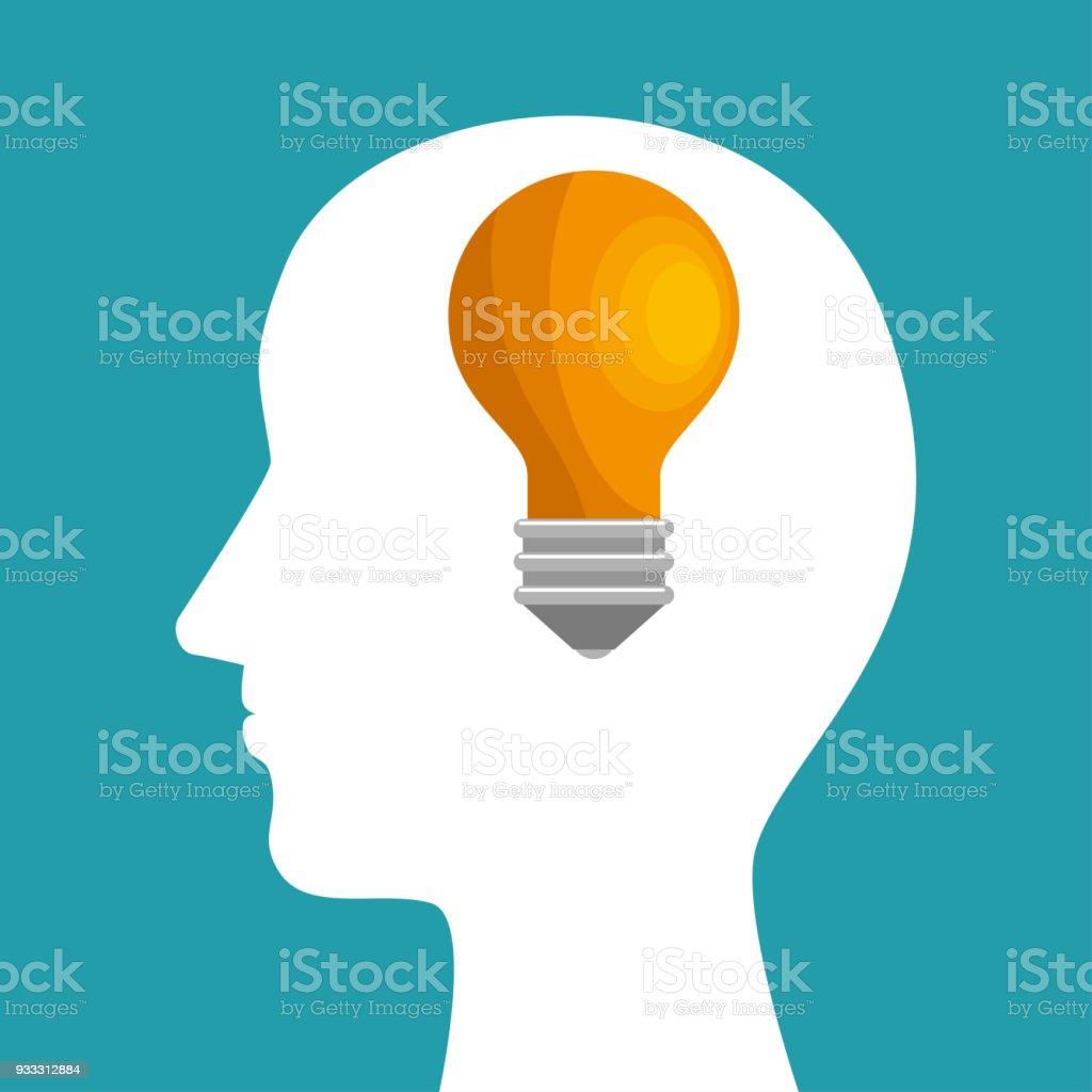 Silhouette Head Bulb Idea Inspiration Stock Vector Art & More Images ...