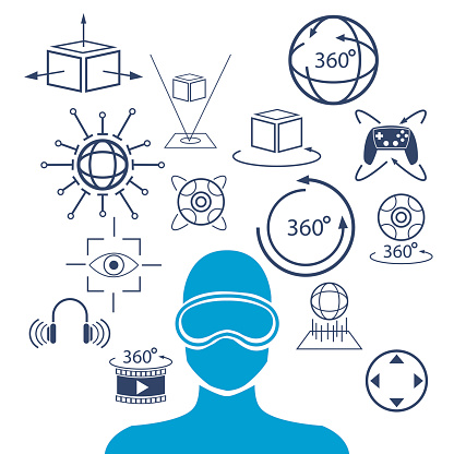 silhouette head human virtual reality goggle 3d concept