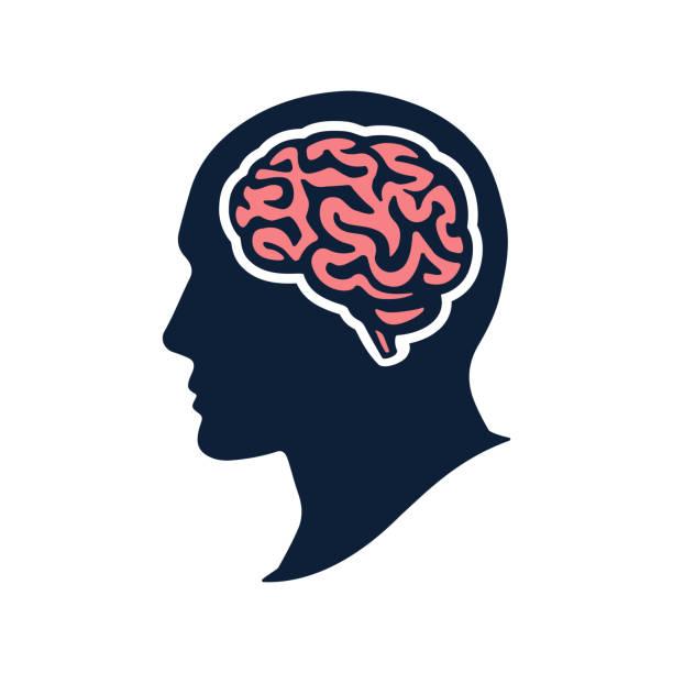 ilustrações, clipart, desenhos animados e ícones de cabeça de silhueta com cérebro vector plana dowload isolado no branco - cabeça