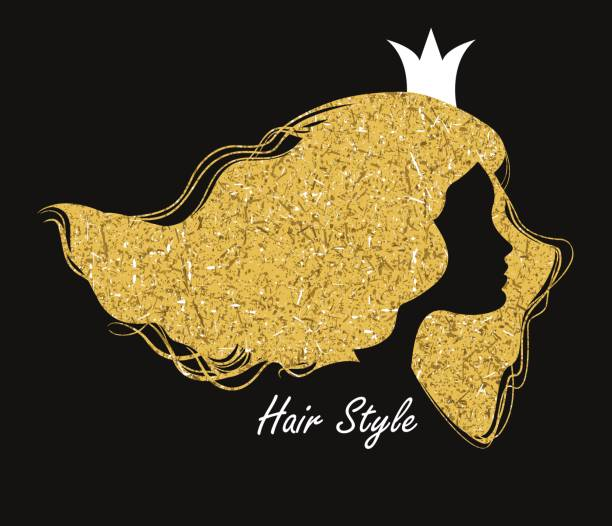 Silhouette head with golden hair and crown.Vector illustration o vector art illustration