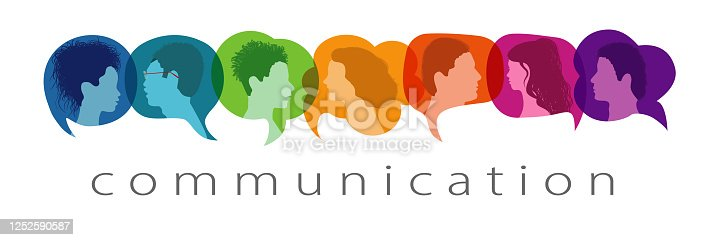 istock Silhouette heads people in profile inside speech bubble talking and communicating. Communication text. Communicate and share ideas and information on social networks. Community concept 1252590587