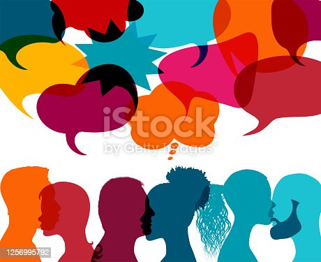 Communication between people who talk. Integration between people of different culture and ethnicity. Social media communication concept, blog, business. Chat, dialogue or communication in the workplace or between friends. Interact in the virtual community. Teamwork concept. Active participation. Comparison between people. Friendship. Meeting. Possible use in the field of friendship, solidarity, group work, in communication between different people, in interpersonal relationships. Peace among peoples.