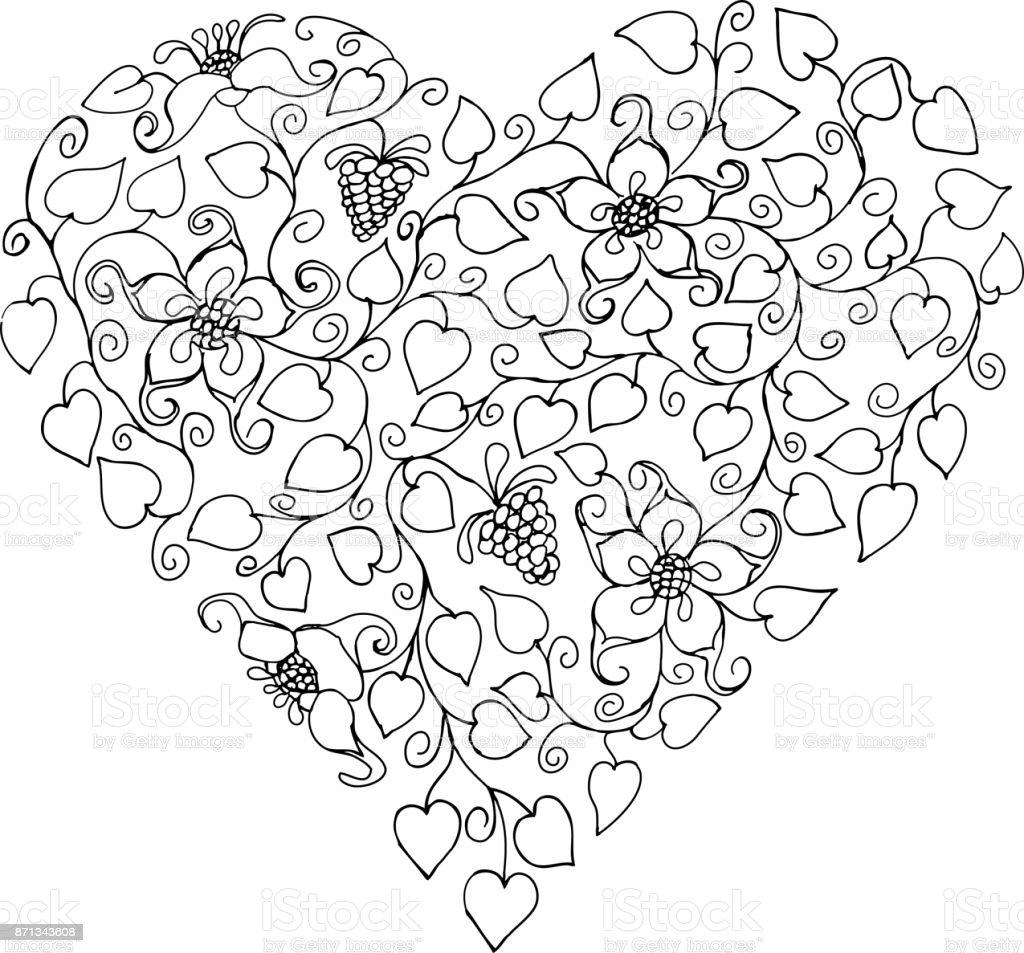 Ilustración De Corazón De Silueta Patrones Dibujados A Mano Para