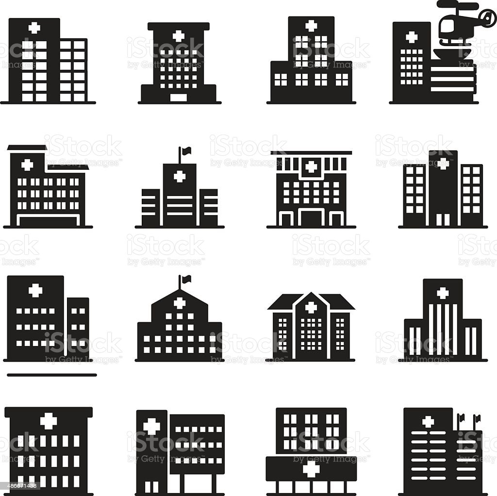 silhouette Hospital icon set vector art illustration