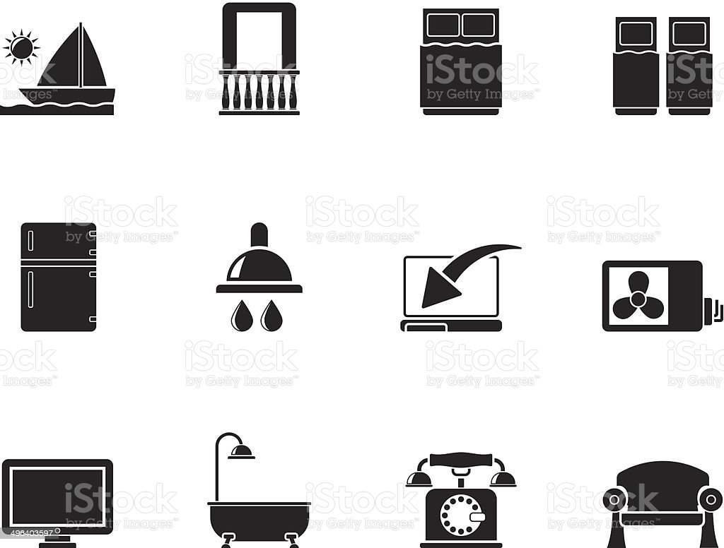Silhouette Hotel and motel room facilities icons vector art illustration