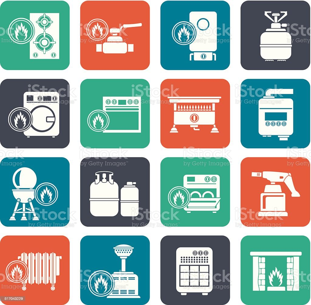 Silhouette Household Gas Appliances icons vector art illustration