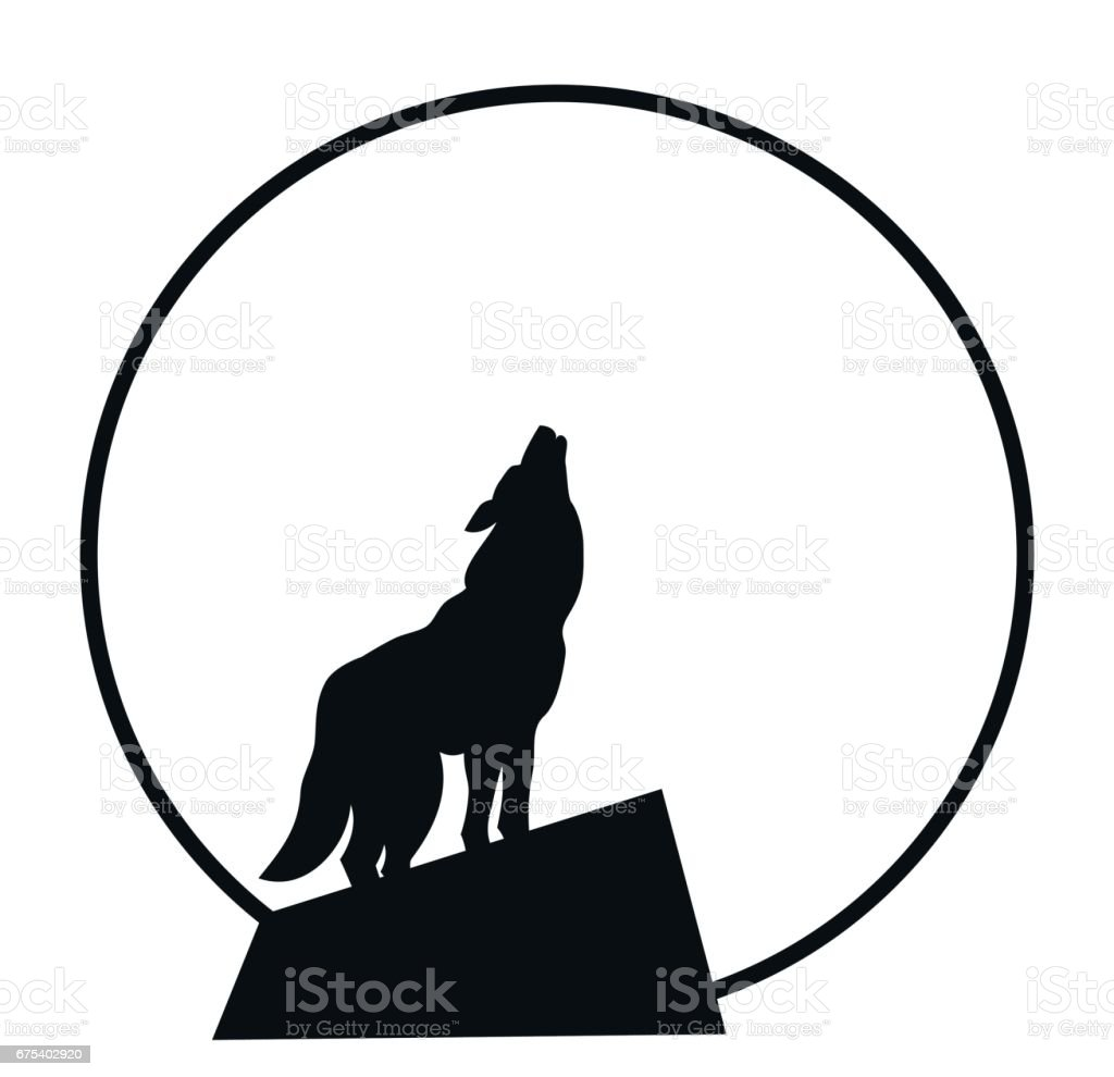 royalty free lone wolf howling at the moon clip art vector images rh istockphoto com wolf howling at moon clipart