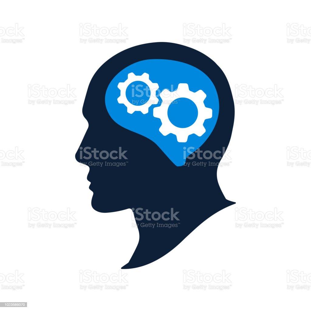 Silhouette human head with gears vector illustation. Thinking brain icon vector art illustration