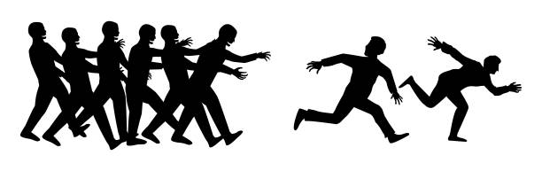 silhouette human run escape from zombies group vector art illustration