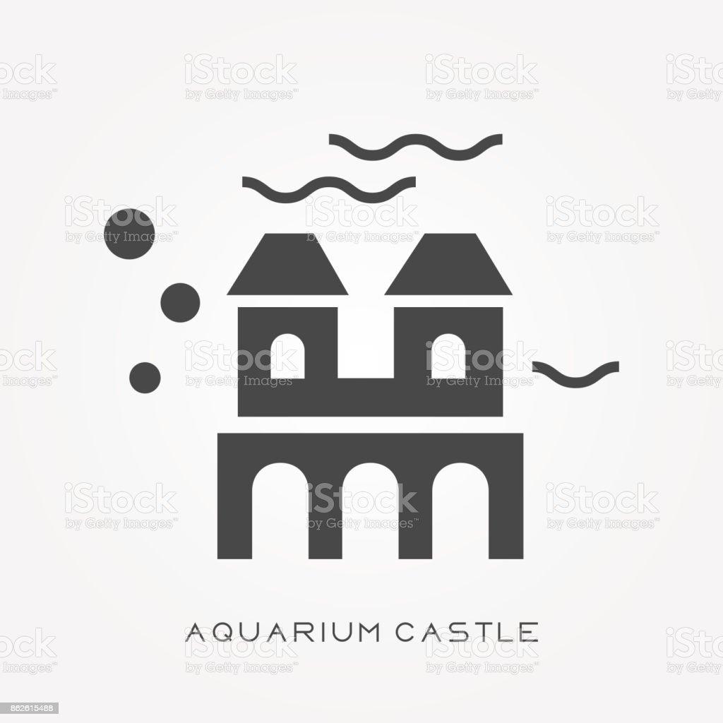 Silhouette icon aquarium castle vector art illustration