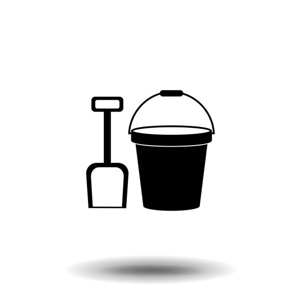 Silhouette icon bucket with spatula vector art illustration