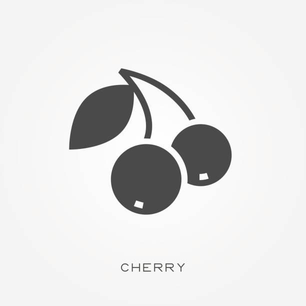Silhouette icon cherry vector art illustration