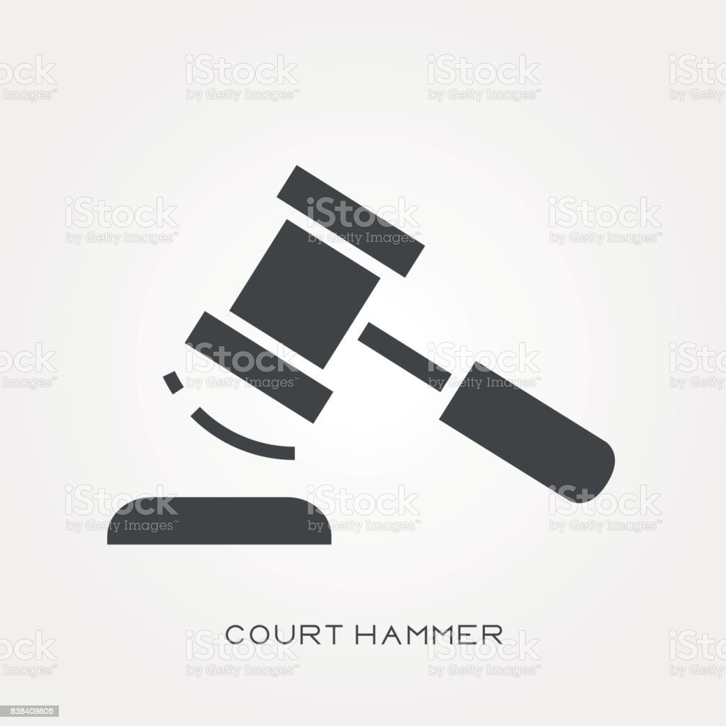 Silhouette icon court hammer vector art illustration