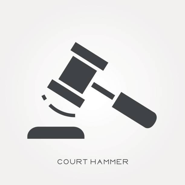 Silhouette icon court hammer vector art illustration