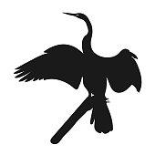 Silhouette icon crane. Vector illustration. crane bird silhouette