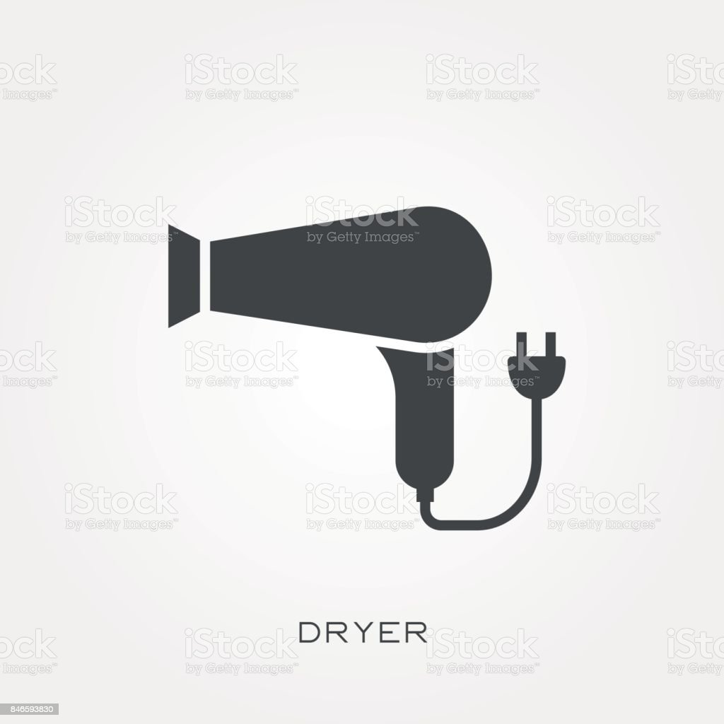 Silhouette Icon Dryer Stock Illustration - Download Image Now - iStock