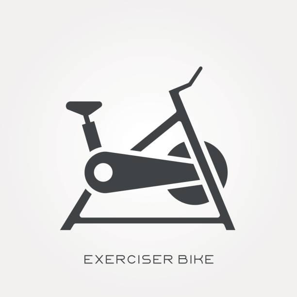 Silhouette icon exerciser bike Silhouette icon exerciser bike exercise bike stock illustrations