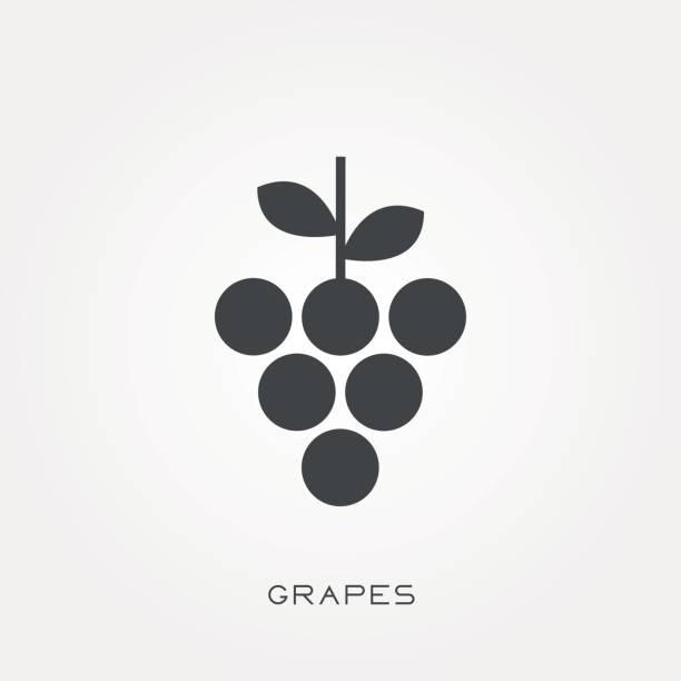 Silhouette icon grapes Silhouette icon grapes bunch stock illustrations