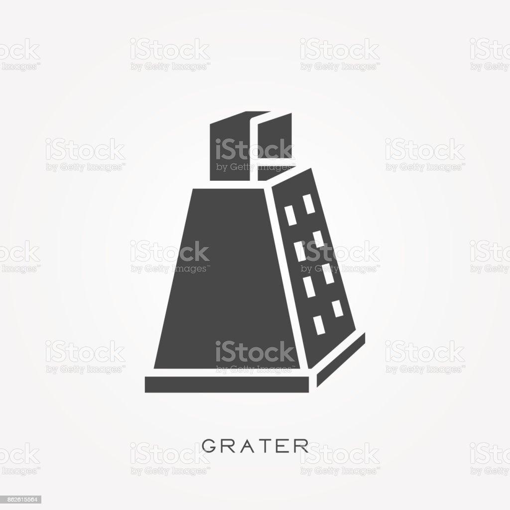 Silhouette icon grater vector art illustration