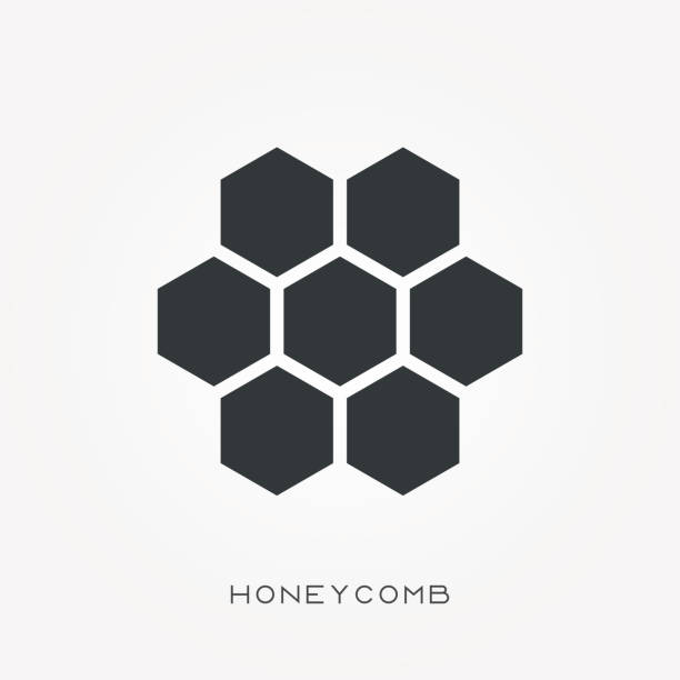 Silhouette icon honeycomb Silhouette icon honeycomb beehive stock illustrations
