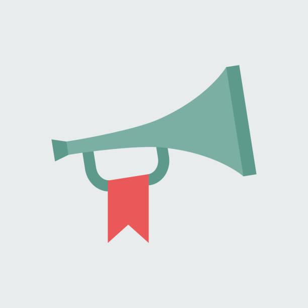 silhouette symbol horn mit flagge - fanfare stock-grafiken, -clipart, -cartoons und -symbole