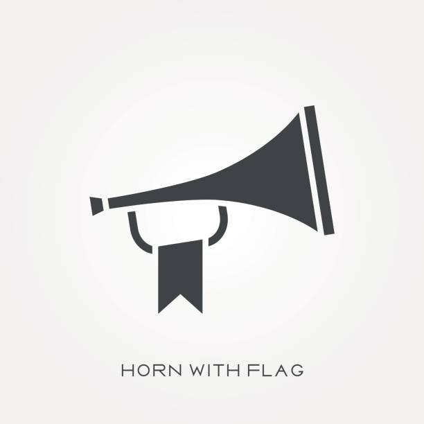 Silhouette icon horn with flag vector art illustration
