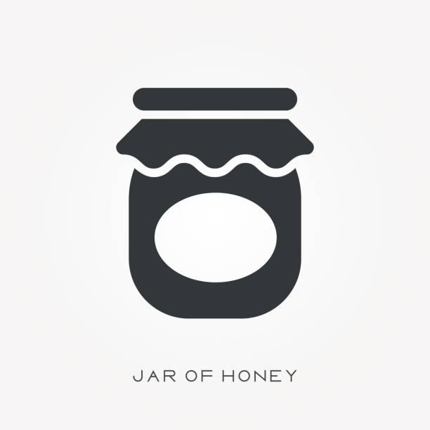 ilustrações de stock, clip art, desenhos animados e ícones de silhouette icon jar of honey - jam jar