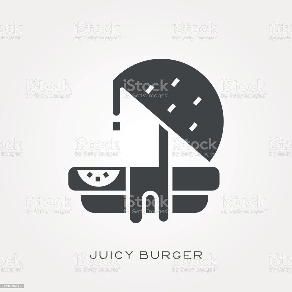 Silhouette icon juicy burger vector art illustration