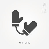istock Silhouette icon mittens 900837214