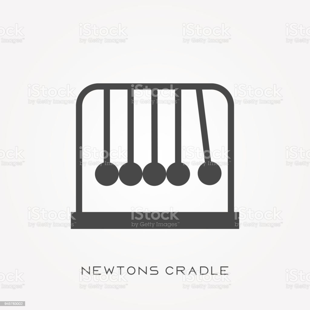 Silhouette icon Newtons cradle vector art illustration