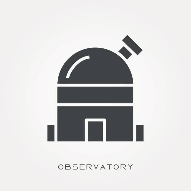 silhouette symbol observatorium - sternwarte stock-grafiken, -clipart, -cartoons und -symbole