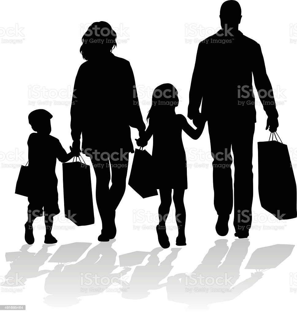Silhouette Icon Of Family Shopping Stock Illustration Download Image Now Istock