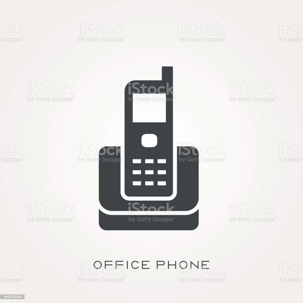 Silhouette icon office phone vector art illustration