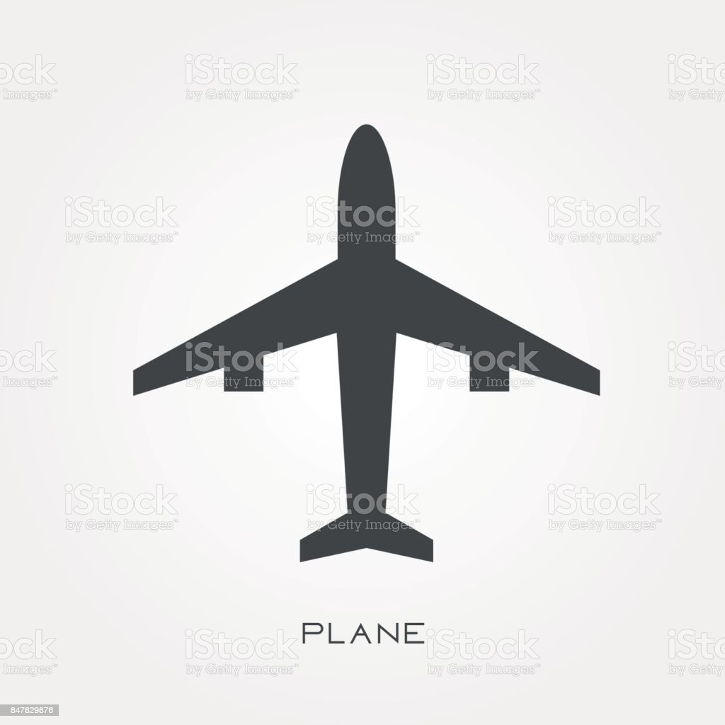 Silhouette icon plane vector art illustration