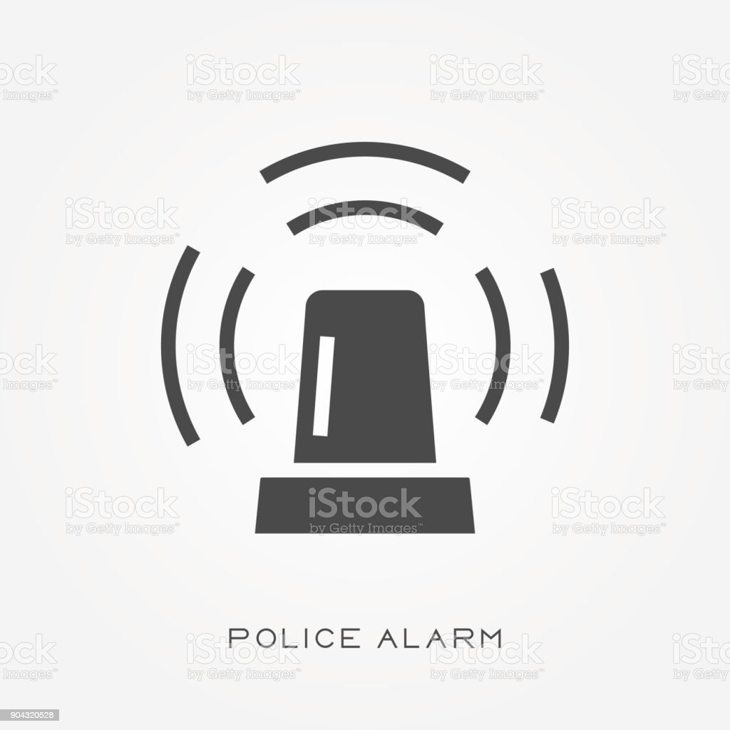 Silhouette icon police alarm vector art illustration