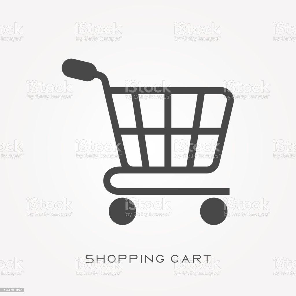 シルエット アイコン ショッピング カート Eコマースのベクターアート