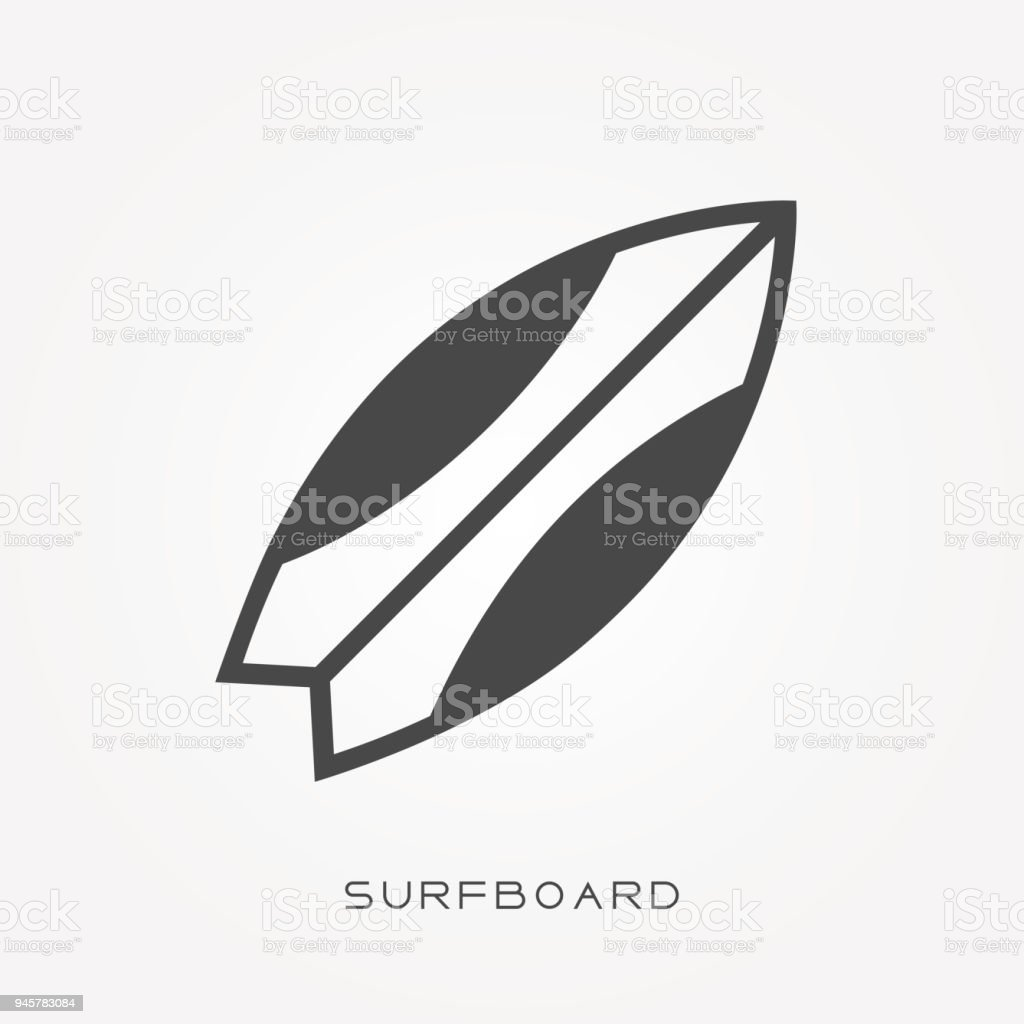 Silhouette Icon Surfboard Stock Illustration - Download Image Now