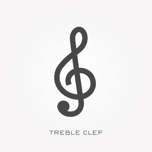 silhouette icon violinschlüssel - musiksymbole stock-grafiken, -clipart, -cartoons und -symbole