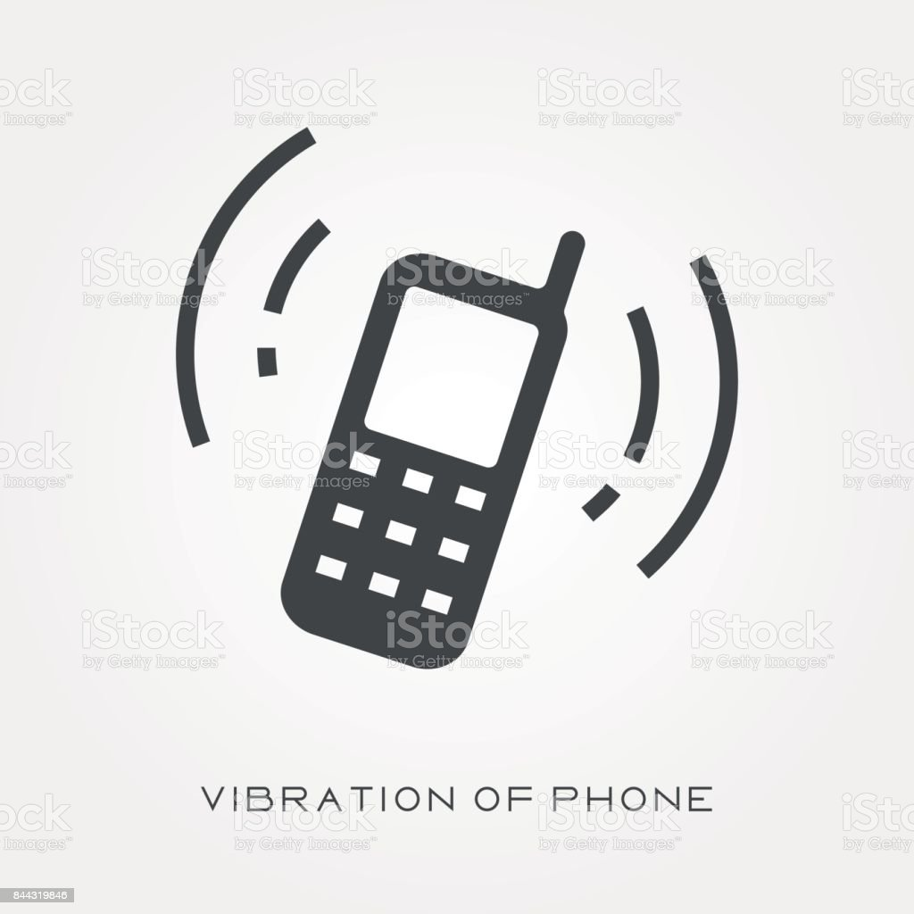 Silhouette Icon Vibration Of Phone Stock Vector Art & More Images of ...