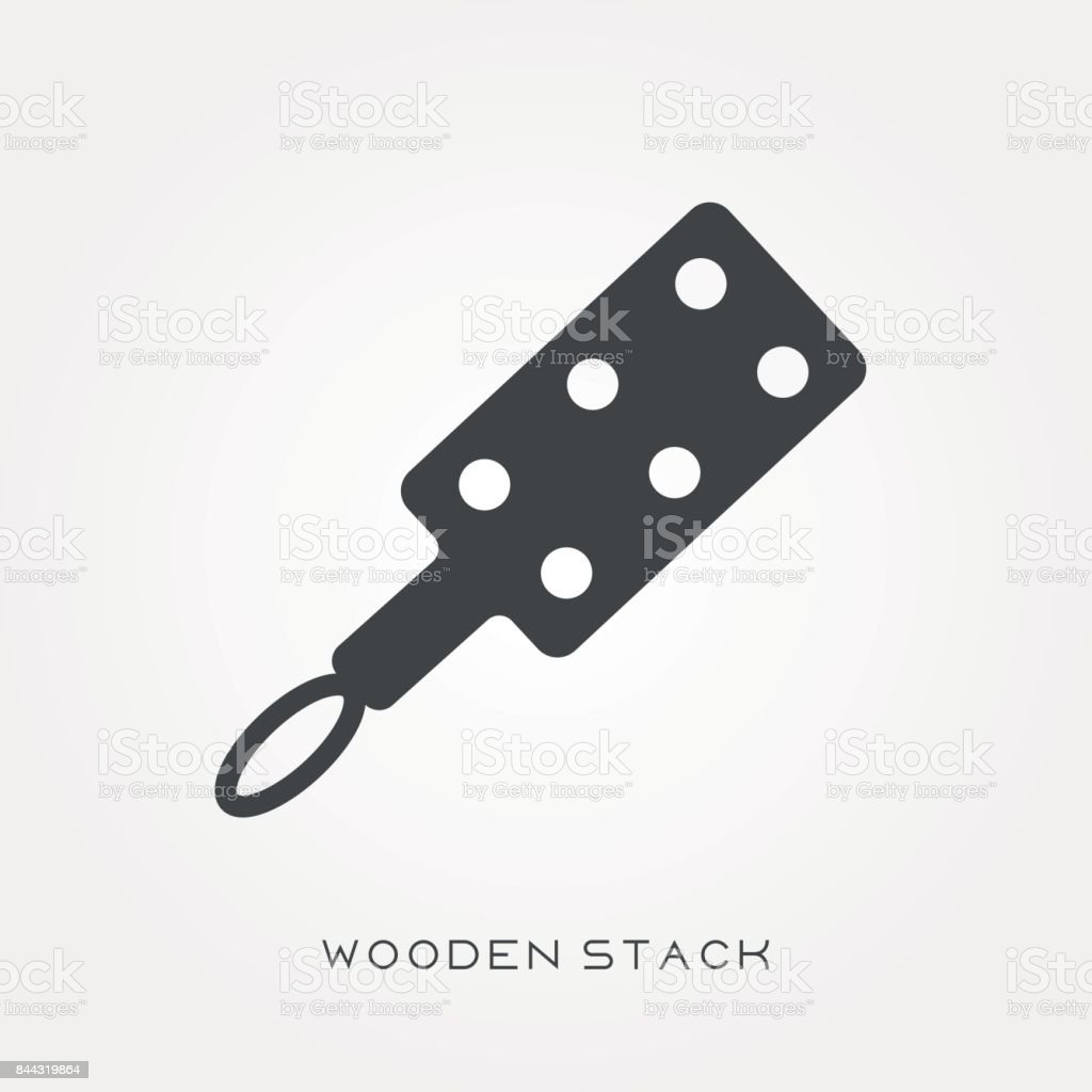 Silhouette icon wooden stack vector art illustration