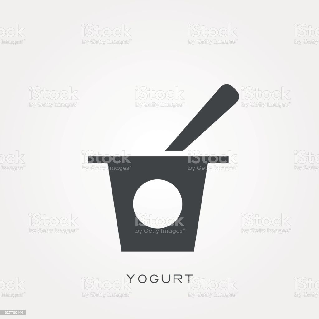 Silhouette icon yogurt vector art illustration