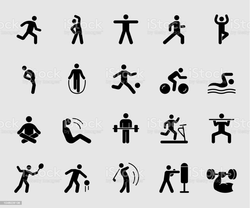 Silhouette icons set for Exercise royalty-free silhouette icons set for exercise stock illustration - download image now