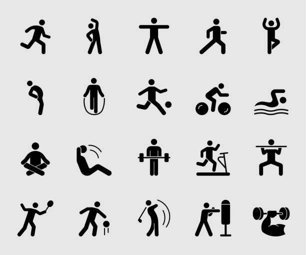 Silhouette icons set for Exercise Silhouette icons set for Exercise exercise machine stock illustrations