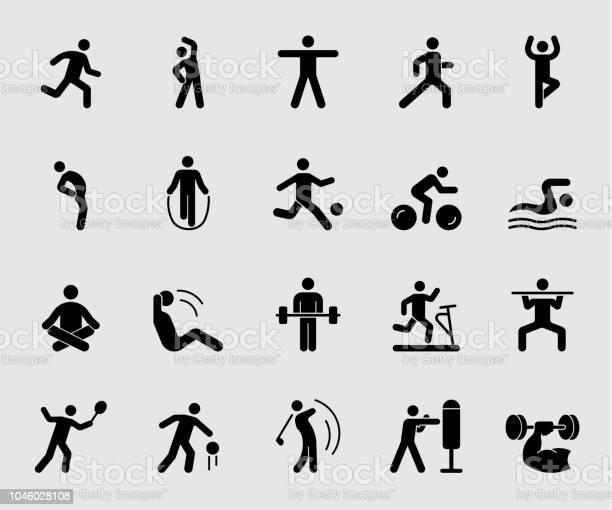 Silhouet Pictogrammen Instellen Voor Oefening Stockvectorkunst en meer beelden van Actieve levenswijze