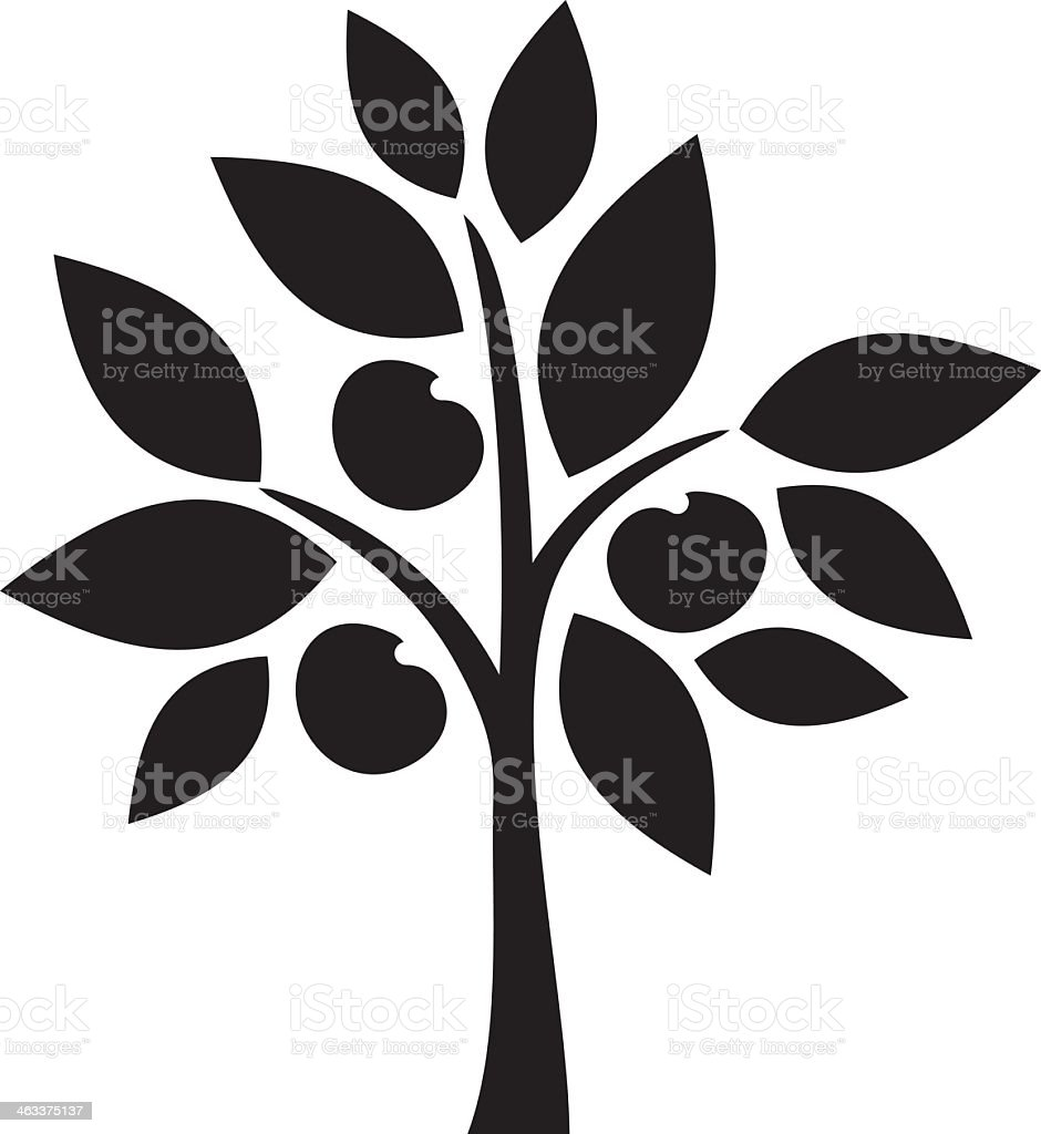 silhouette illustration drawing of small apple tree royalty free stock vector art