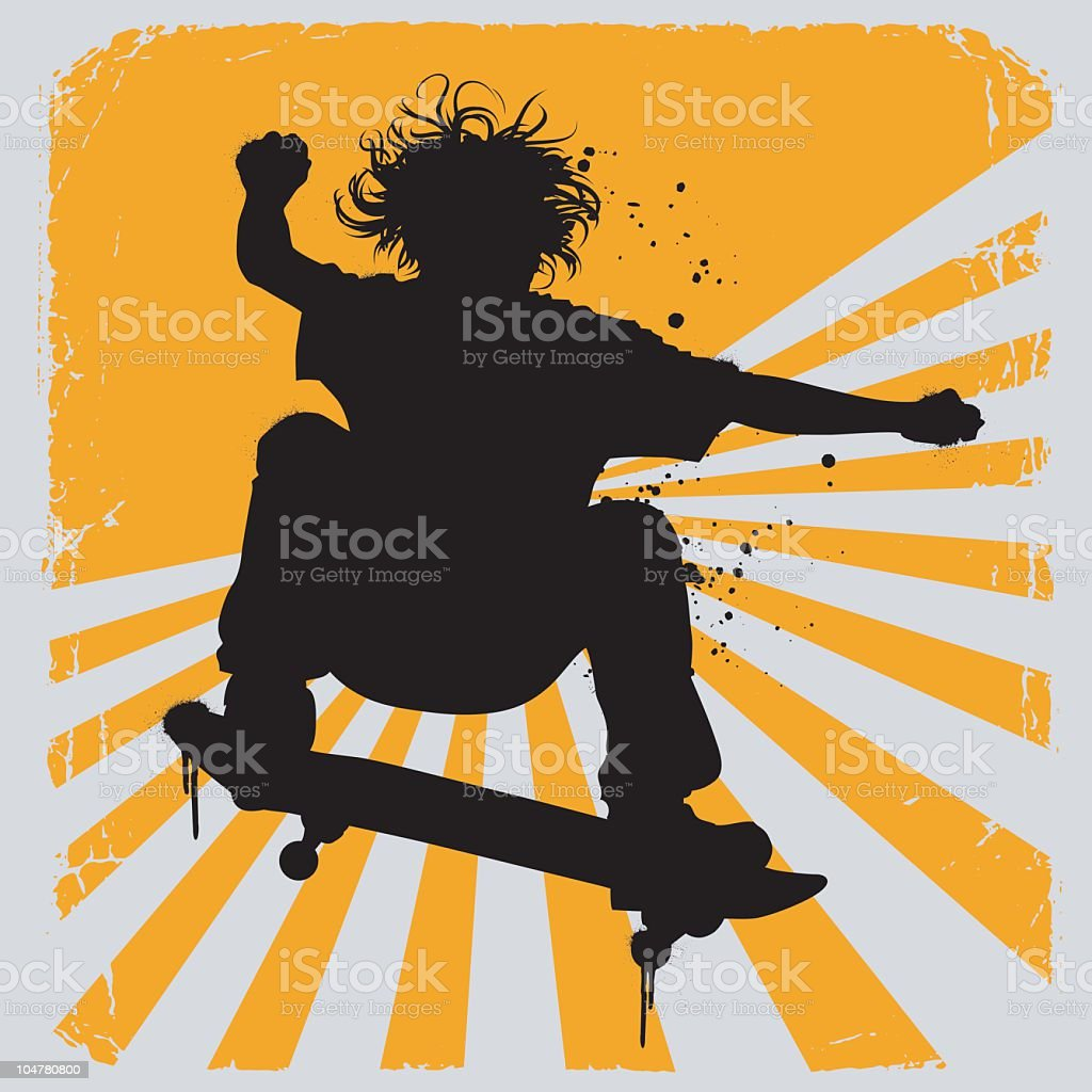 Silhouette illustration of a skater over yellow and white vector art illustration