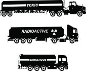 Silhouette illustration of cistern trucks carrying chemical, radioactive, toxic substances.