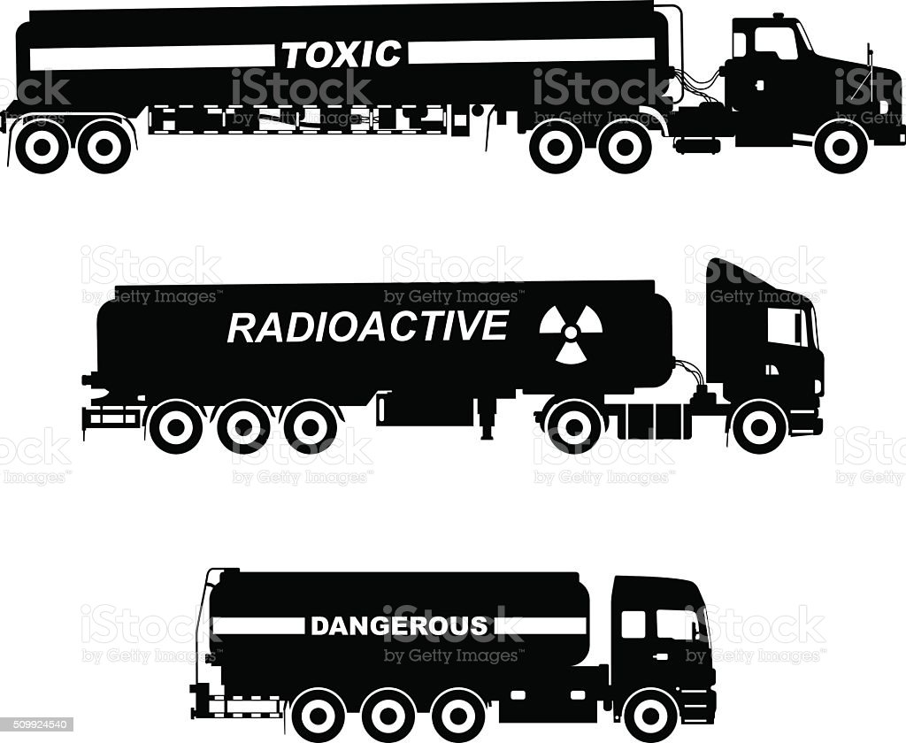 Silhouette illustration of cistern trucks carrying chemical, radioactive, toxic substances. vector art illustration