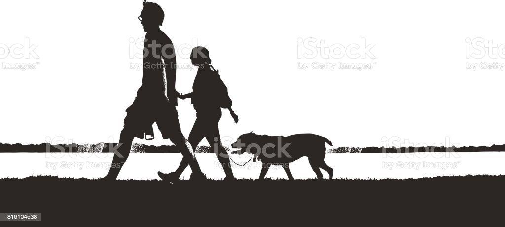 Silhouette illustration of couple walking dog vector art illustration