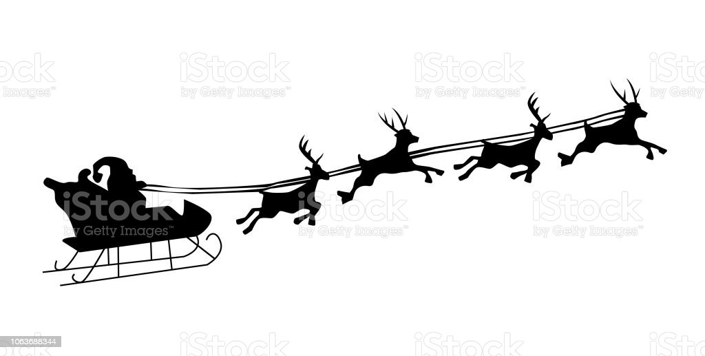 Christmas Reindeer Silhouette.Silhouette Illustration Of Flying Santa And Christmas Reindeer Stock Illustration Download Image Now